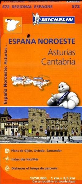 572  Asturias/Cantabria | Michelin  wegenkaart, autokaart 1:250.000 9782067184121  Michelin Michelin Spanje Regionaal  Landkaarten en wegenkaarten Noordwest-Spanje, Compostela, Picos de Europa