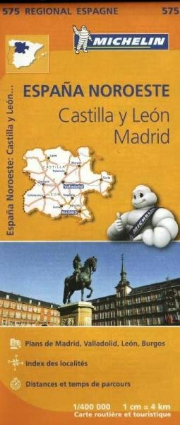575  Castilla y Leon/Madrid | Michelin  wegenkaart, autokaart 1:400.000 9782067184275  Michelin Michelin Spanje Regionaal  Landkaarten en wegenkaarten Madrid, Castilië, Extremadura, Valencia (Costa Blanca)