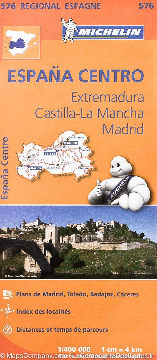 576 Extremadura/Castilla/Madrid | Michelin  wegenkaart, autokaart 1:400.000 9782067184329  Michelin Michelin Spanje Regionaal  Landkaarten en wegenkaarten Madrid, Castilië, Extremadura, Valencia (Costa Blanca)