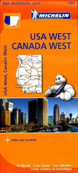 585  Western USA/Western Canada | Michelin  wegenkaart, autokaart 1:2.400.000 9782067184688  Michelin Michelinkaarten USA  Landkaarten en wegenkaarten VS-West, Rocky Mountains