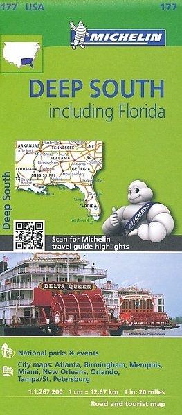 177 Deep South 1:1.267.200 9782067190566  Michelin Michelinkaarten USA  Landkaarten en wegenkaarten VS Zuid-Oost, van Virginia t/m Mississippi