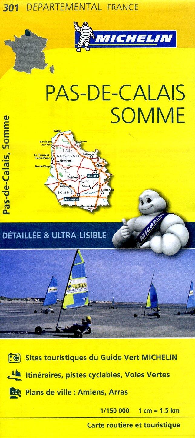 301  Pas-de-Calais, Somme   wegenkaart, fietskaart 1:150.000 9782067202023  Michelin Local / Departementskaarten  Landkaarten en wegenkaarten Picardie, Nord, Aisne, Pas-de-Calais