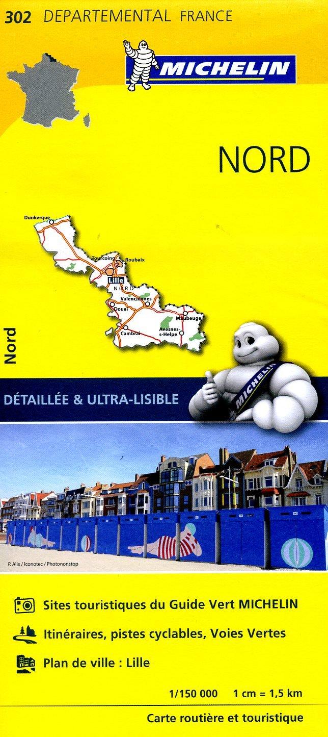 302  Nord   wegenkaart, fietskaart 1:150.000 9782067202030  Michelin Local / Departementskaarten  Landkaarten en wegenkaarten Picardie, Nord, Aisne, Pas-de-Calais