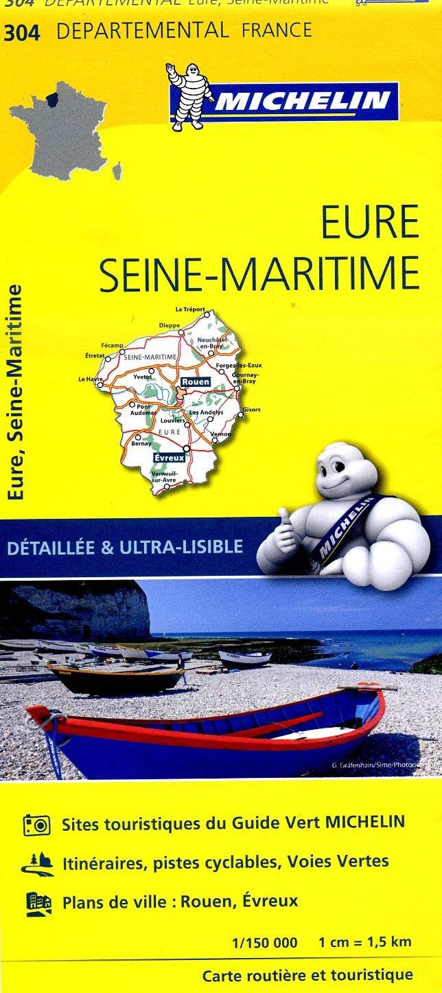 304  Eure, Seine-Maritime   wegenkaart, fietskaart 1:150.000 9782067202054  Michelin Local / Departementskaarten  Landkaarten en wegenkaarten Normandië