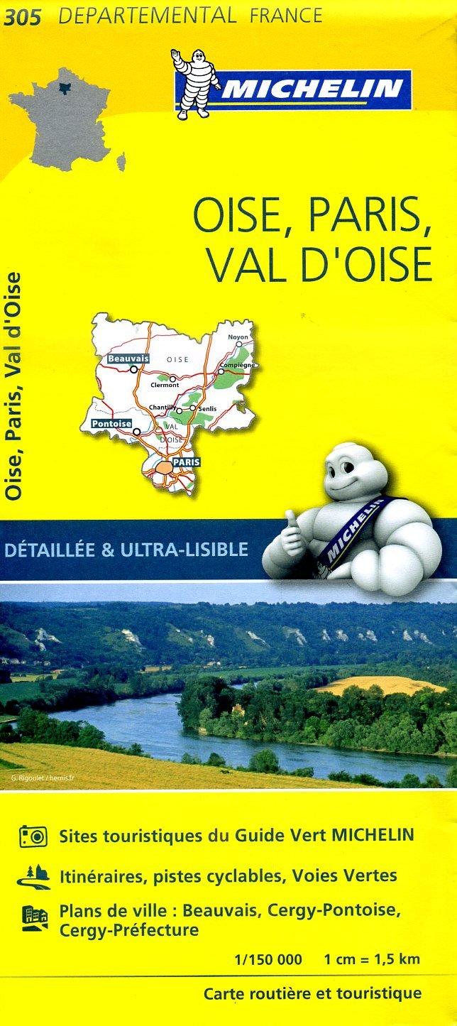 305  Oise, Paris, Val d Oise | wegenkaart, fietskaart 1:150.000 9782067202061  Michelin Local / Departementskaarten  Landkaarten en wegenkaarten Parijs, Île-de-France