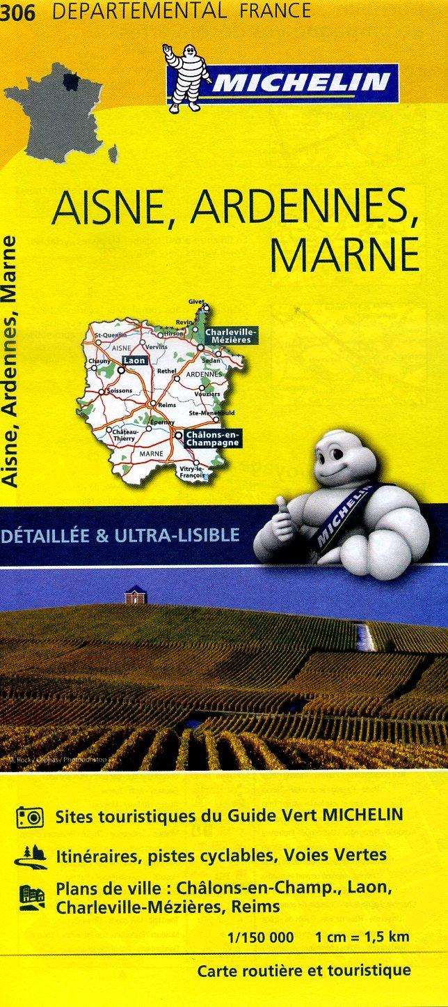 306  Aisne, Ardennes, Marne | wegenkaart, fietskaart 1:150.000 9782067202078  Michelin Local / Departementskaarten  Landkaarten en wegenkaarten Champagne, Franse Ardennen