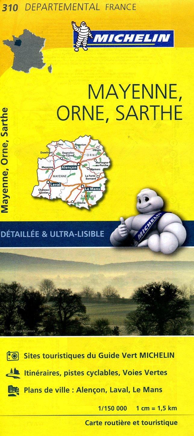 310  Mayenne, Orne, Sarthe   wegenkaart, fietskaart 1:150.000 9782067202122  Michelin Local / Departementskaarten  Landkaarten en wegenkaarten