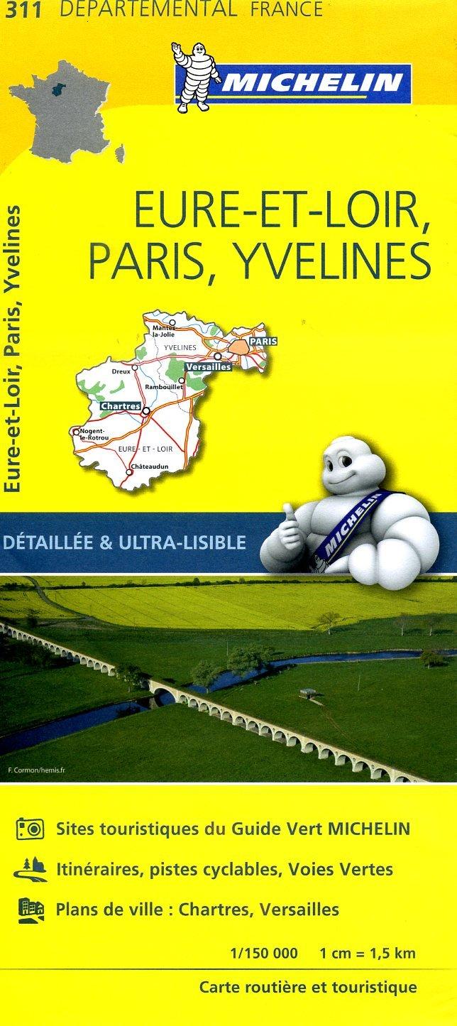 311  Eure-et-Loir, Paris, Yvelines | wegenkaart, fietskaart 1:150.000 9782067202139  Michelin Local / Departementskaarten  Landkaarten en wegenkaarten Parijs, Île-de-France