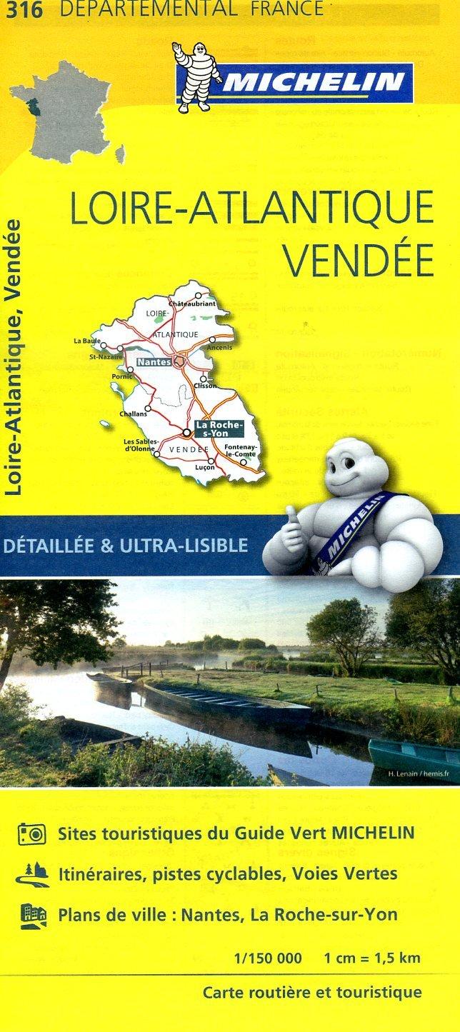316  Loire-Atlantique, Vendée | wegenkaart, fietskaart 1:150.000 9782067202184  Michelin Local / Departementskaarten  Landkaarten en wegenkaarten Loire Atlantique, Charente, Vendée