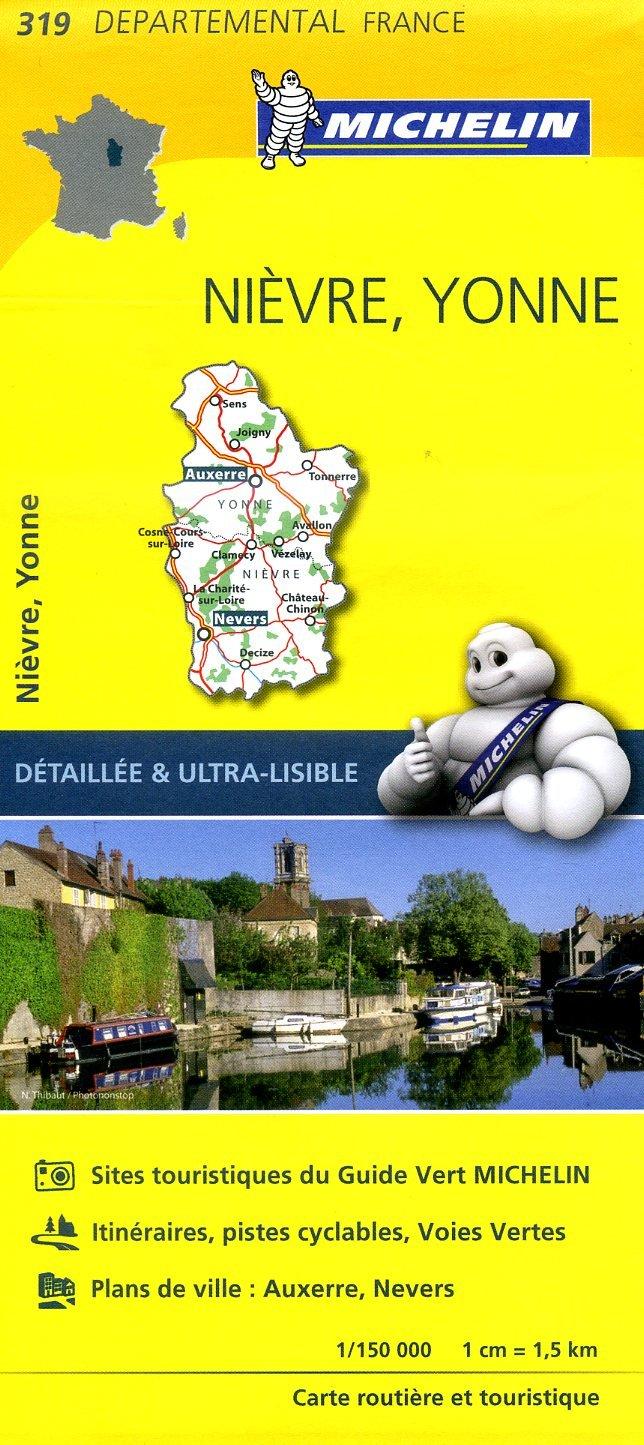 319  Nièvre, Yonne | wegenkaart, fietskaart 1:150.000 9782067202214  Michelin Local / Departementskaarten  Landkaarten en wegenkaarten Bourgogne, Morvan, Côte-d'Or