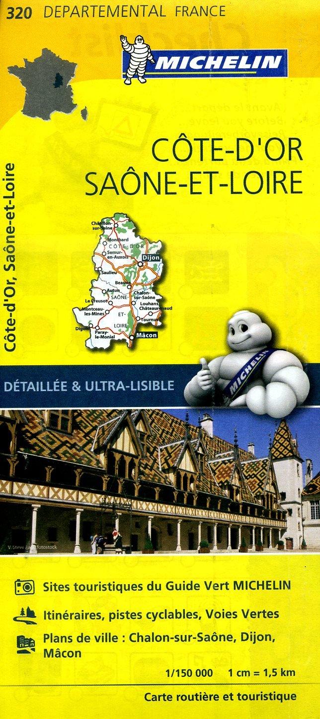 320  Côte-d Or, Saône-et-Loire | wegenkaart, fietskaart 1:150.000 9782067202221  Michelin Local / Departementskaarten  Landkaarten en wegenkaarten Bourgogne, Morvan, Côte-d'Or