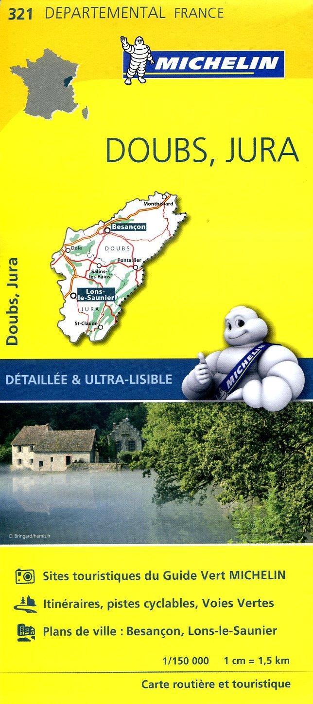 321  Doubs, Jura | wegenkaart, fietskaart 1:150.000 9782067202238  Michelin Local / Departementskaarten  Landkaarten en wegenkaarten Jura, Franche-Comté