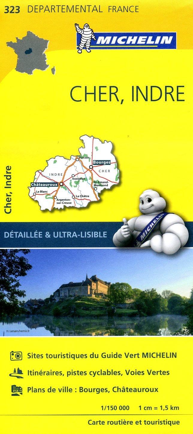 323  Cher, Indre   wegenkaart, fietskaart 1:150.000 9782067202252  Michelin Local / Departementskaarten  Landkaarten en wegenkaarten Poitou, Tours, Orléans, Bourges