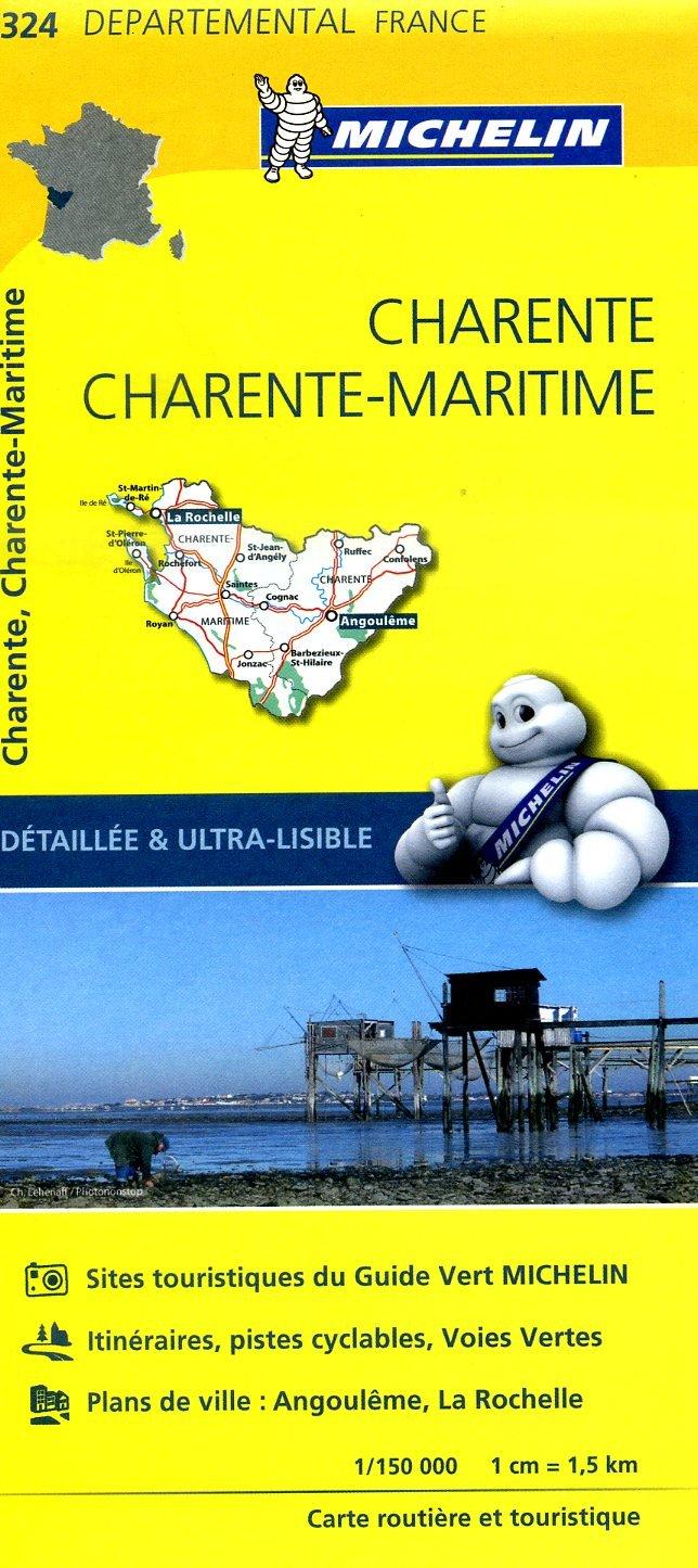 324  Charente, Charente-Maritime | wegenkaart, fietskaart 1:150.000 9782067202269  Michelin Local / Departementskaarten  Landkaarten en wegenkaarten Loire Atlantique, Charente, Vendée