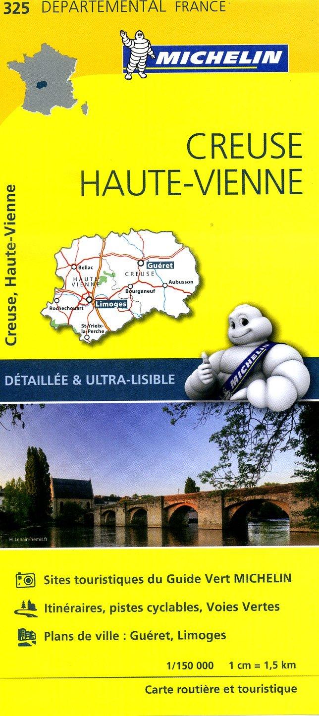 325  Creuse, Haute-Vienne | wegenkaart, fietskaart 1:150.000 9782067202276  Michelin Local / Departementskaarten  Landkaarten en wegenkaarten Dordogne, Creuse, Corrèze, Lot