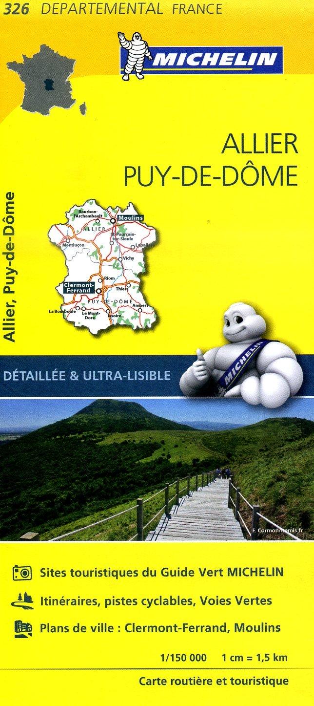326  Allier, Puy-de-Dôme | wegenkaart, fietskaart 1:150.000 9782067202283  Michelin Local / Departementskaarten  Landkaarten en wegenkaarten Auvergne, Cantal, Forez