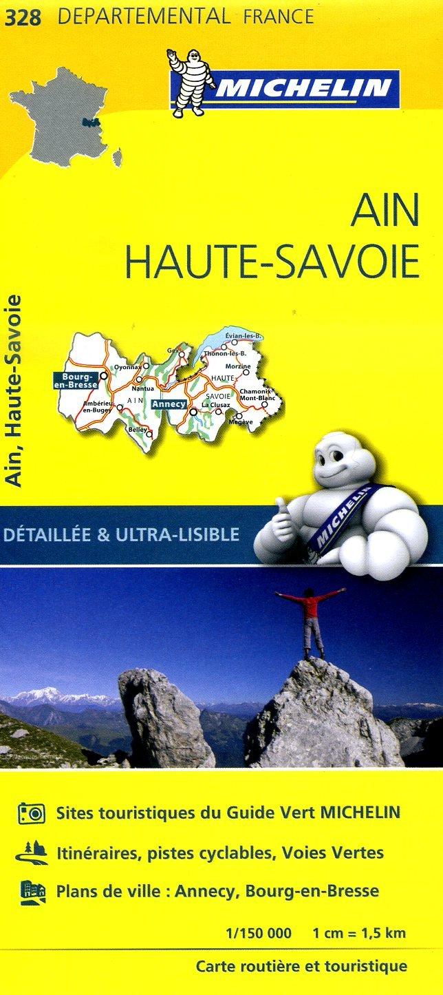 328  Ain, Haute-Savoie | wegenkaart, fietskaart 1:150.000 9782067202306  Michelin Local / Departementskaarten  Landkaarten en wegenkaarten Haute Savoie, Mont Blanc, Lyon, Ain