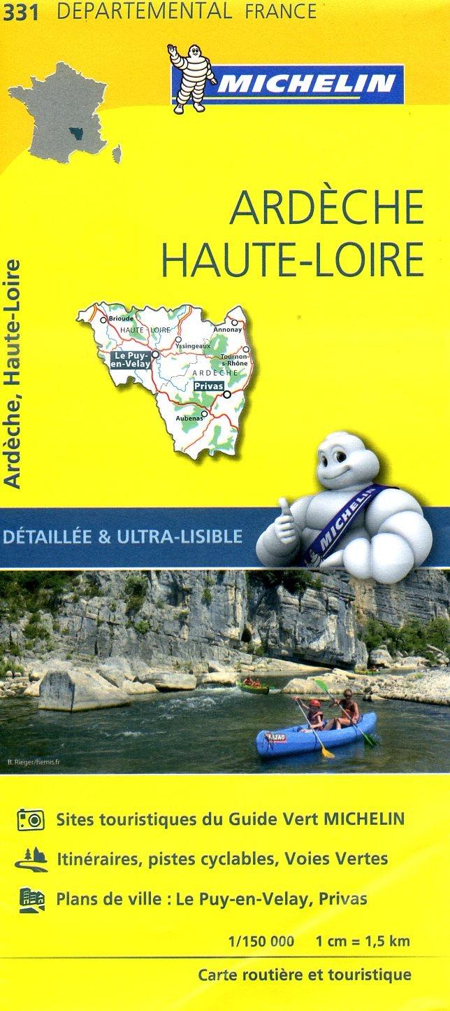 331  Ardèche, Haute-Loire | wegenkaart, fietskaart 1:150.000 9782067202337  Michelin Local / Departementskaarten  Landkaarten en wegenkaarten Auvergne, Cantal, Forez, Cevennen, Ardèche, Gard, Aveyron