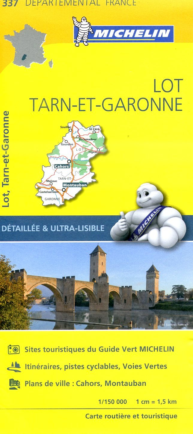 337  Lot, Tarn-et-Garonne   wegenkaart, fietskaart 1:150.000 9782067202399  Michelin Local / Departementskaarten  Landkaarten en wegenkaarten