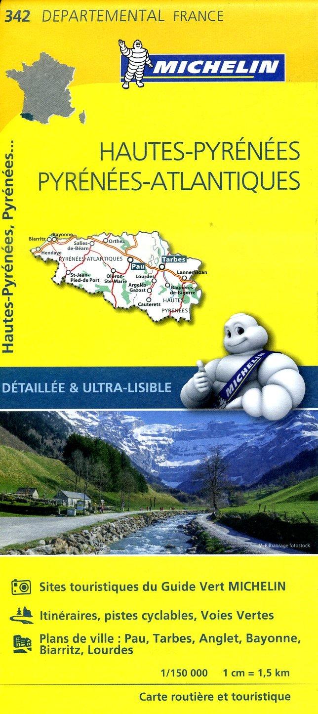 342  Hautes-Pyrénées, Pyrénées Atlantiques | wegenkaart, fietskaart 1:150.000 9782067202443  Michelin Local / Departementskaarten  Landkaarten en wegenkaarten Franse Pyreneeën, Toulouse, Gers, Garonne