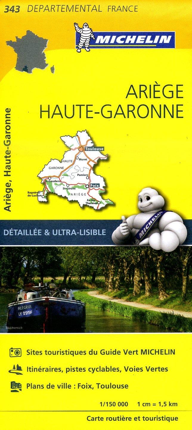 343  Ariège, Haute-Garonne | wegenkaart, fietskaart 1:150.000 9782067202450  Michelin Local / Departementskaarten  Landkaarten en wegenkaarten Franse Pyreneeën, Toulouse, Gers, Garonne