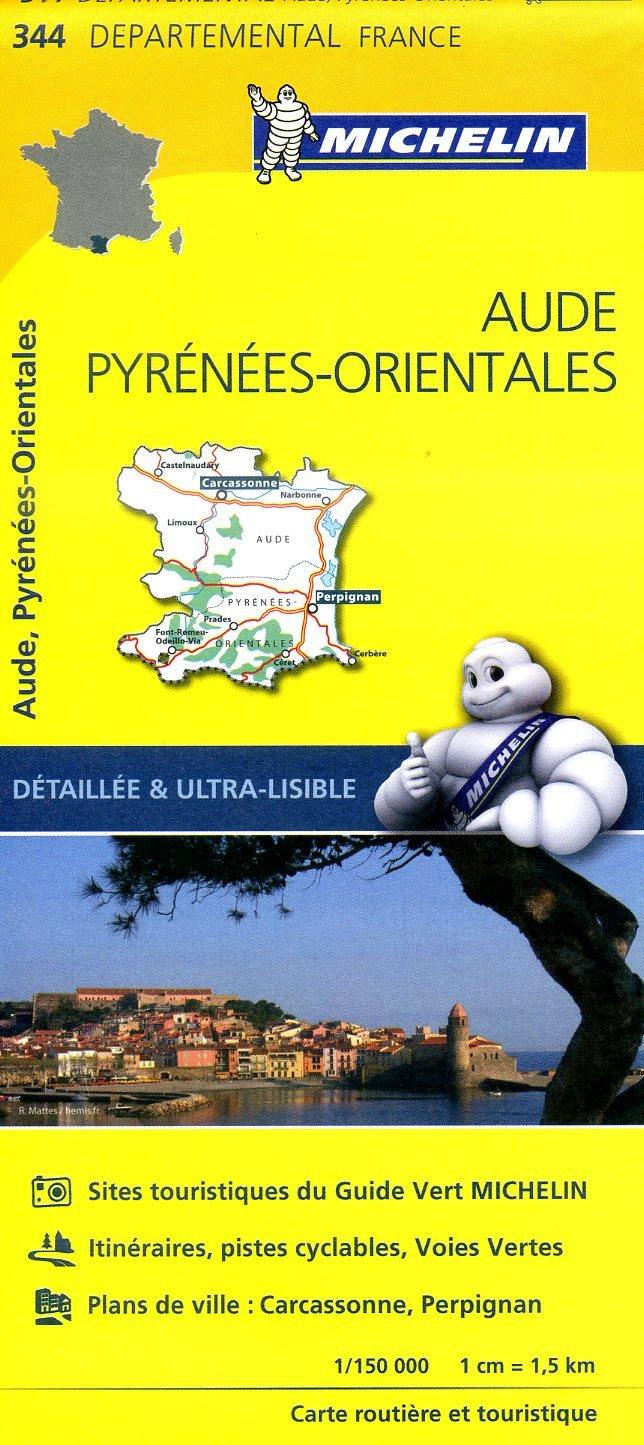 344  Aude, Pyrénées-Orientales | wegenkaart, fietskaart 1:150.000 9782067202467  Michelin Local / Departementskaarten  Landkaarten en wegenkaarten Franse Pyreneeën, Toulouse, Gers, Garonne