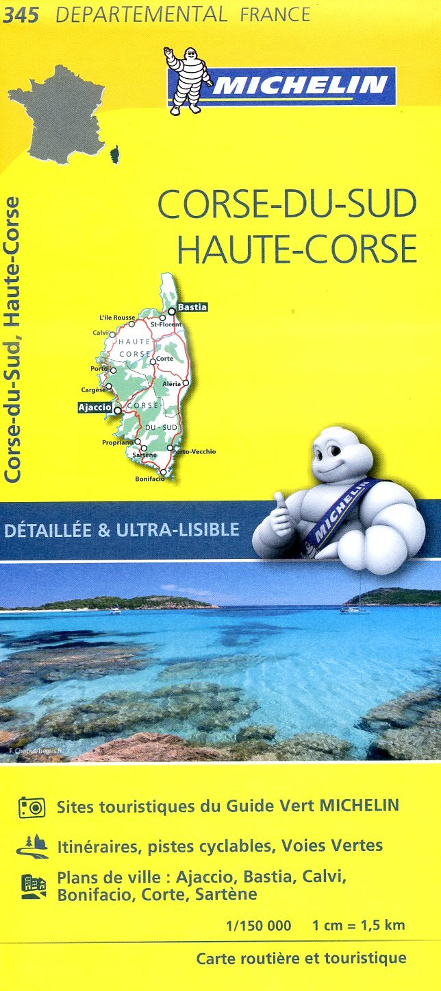 345    Corsica | wegenkaart, fietskaart 1:150.000 9782067202474  Michelin Local / Departementskaarten  Landkaarten en wegenkaarten Corsica