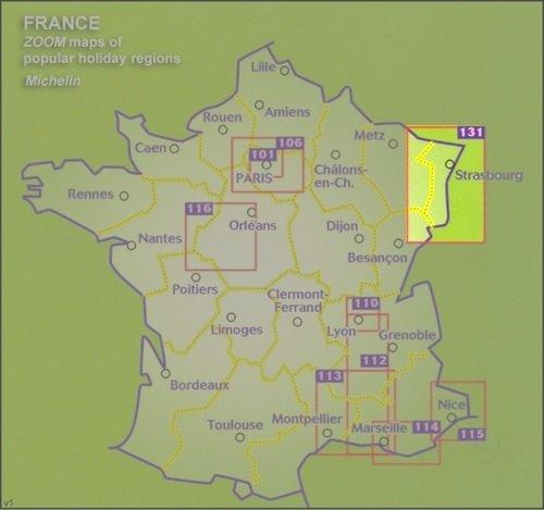 131 Zwarte Woud, Elzas, Rijnvallei 1:200.000 9782067209879  Michelin Zoom  Landkaarten en wegenkaarten Baden-Württemberg, Vogezen