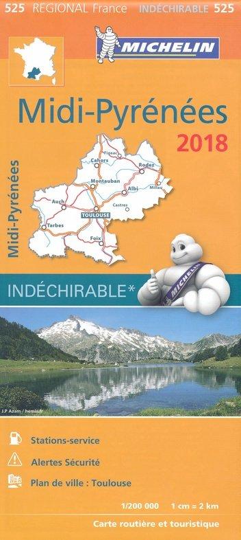 525 Midi-Pyrénées 1:200.000 (2018) 9782067226203  Michelin Regionale kaarten  Landkaarten en wegenkaarten Franse Pyreneeën, Toulouse, Gers, Garonne