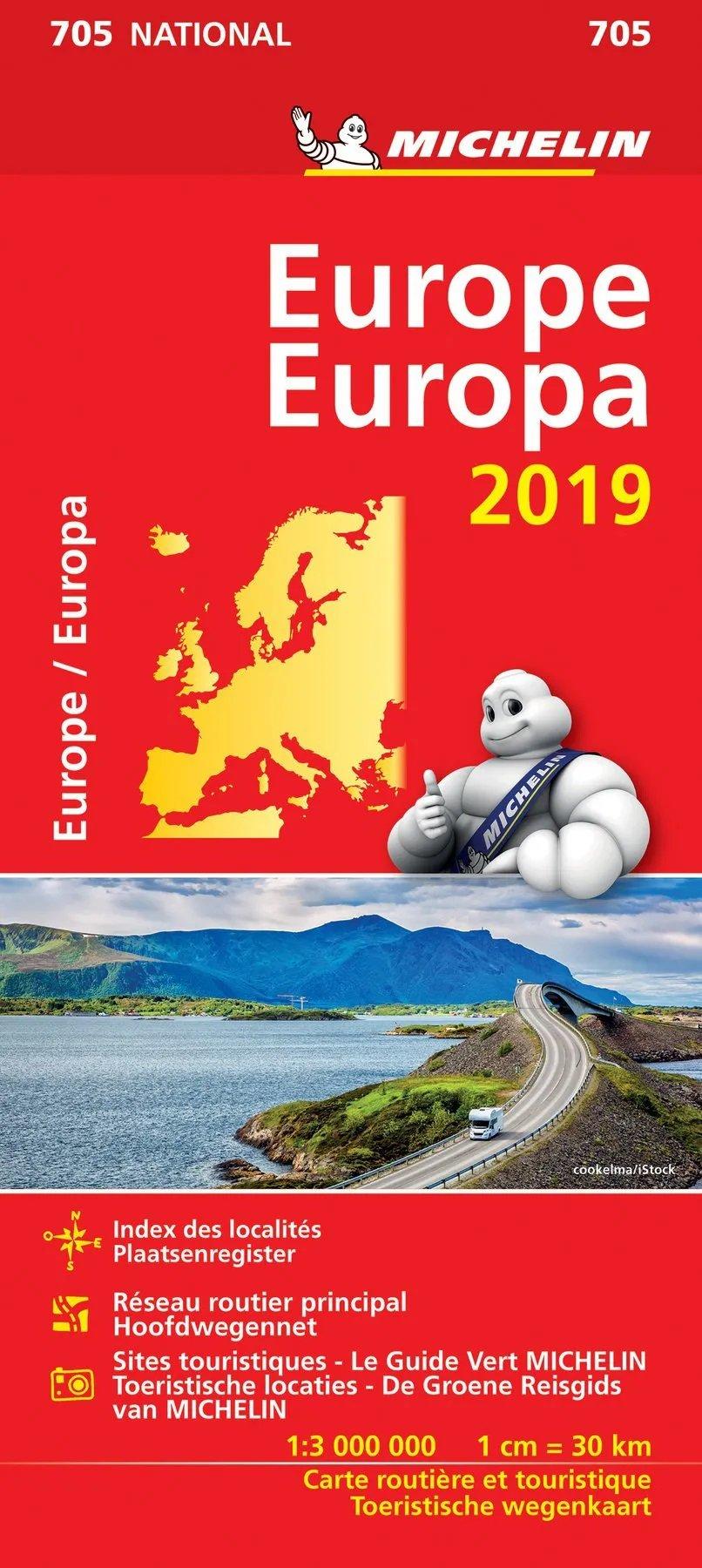 705 Europa 1:3.000.000 - 2019 9782067236332  Michelin Michelinkaarten Jaaredities  Landkaarten en wegenkaarten Europa