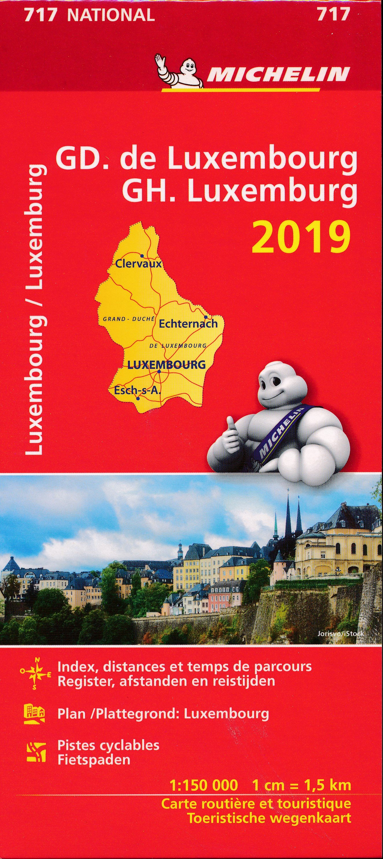 717 Luxemburg, Groothertogdom 1:150.000, 2019 9782067236479  Michelin Michelinkaarten Jaaredities  Landkaarten en wegenkaarten Luxemburg