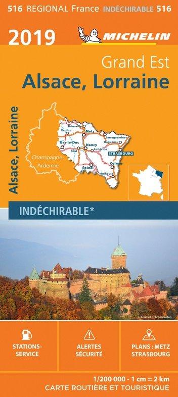 516 Alsace-Lorraine | Michelin  wegenkaart, autokaart 1:200.000 9782067236806  Michelin Regionale kaarten  Landkaarten en wegenkaarten Noord- en Oost-Frankrijk