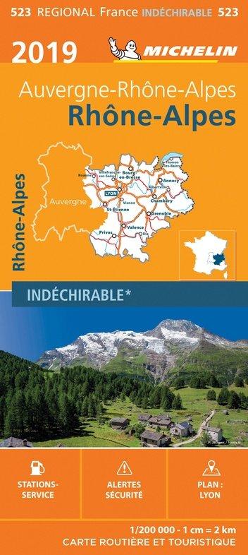 523 Rhône-Alpes   Michelin  wegenkaart, autokaart 1:200.000 9782067236875  Michelin Regionale kaarten  Landkaarten en wegenkaarten Lyon, Ain, Savoie, Mont Blanc, Vanoise, Chartreuse
