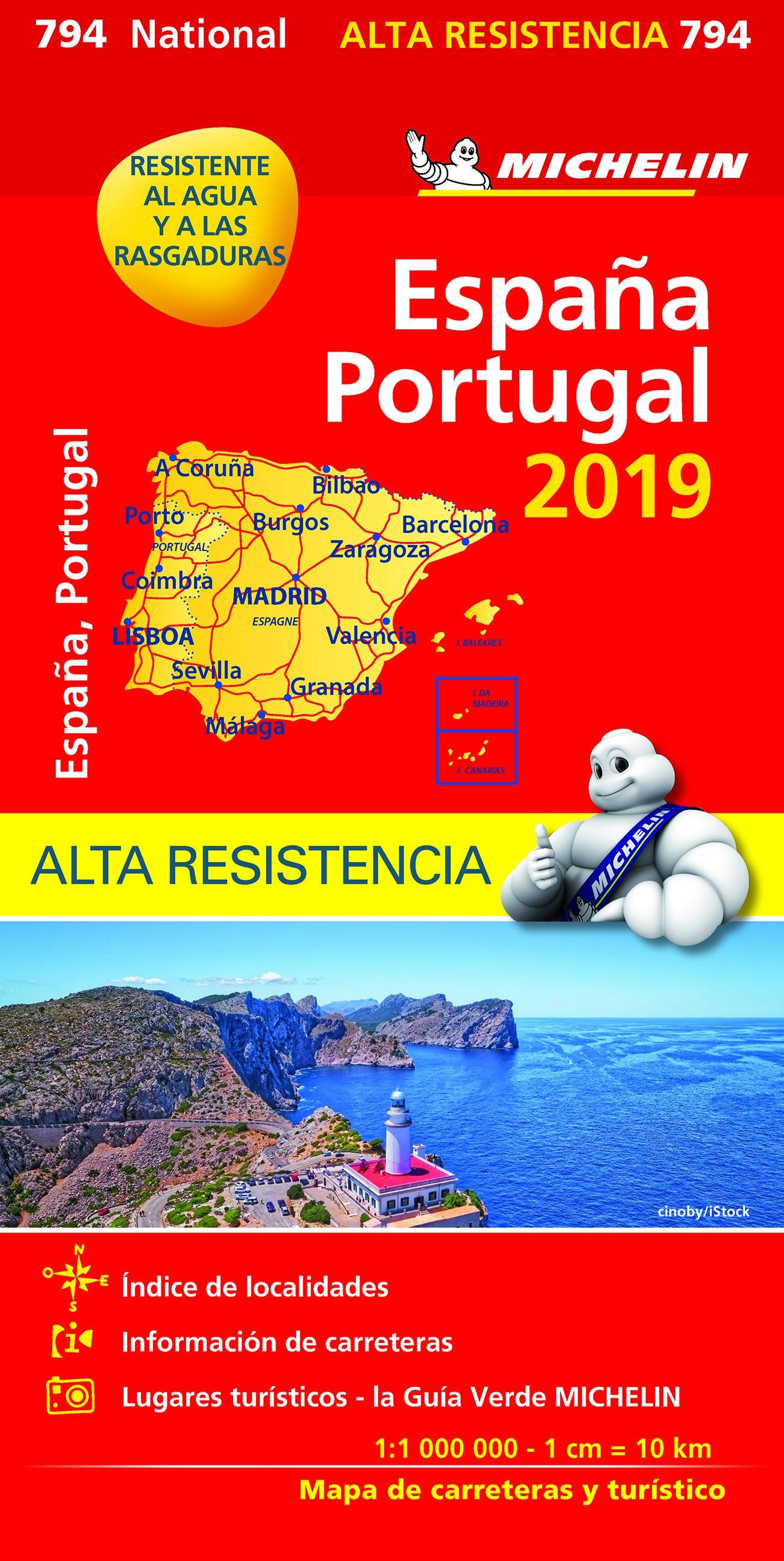794  Spanje en Portugal 1:1.000.000 (onverscheurbaar) 2019 9782067236943  Michelin Michelinkaarten Jaaredities  Landkaarten en wegenkaarten Spanje