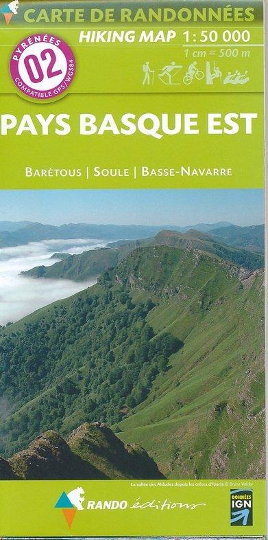 RP-02  Pays Basque Est 1:50.000 9782344007655  Rando Editions Randonnées Pyrénéennes  Wandelkaarten Baskenland