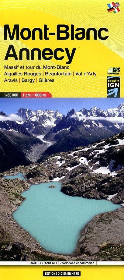 LB-02   Massif du Mont Blanc - Annecy | wandelkaart 1:60.000 9782344008041  Libris Éditions Didier Richard  Wandelkaarten Lyon, Ain, Savoie, Mont Blanc, Vanoise, Chartreuse
