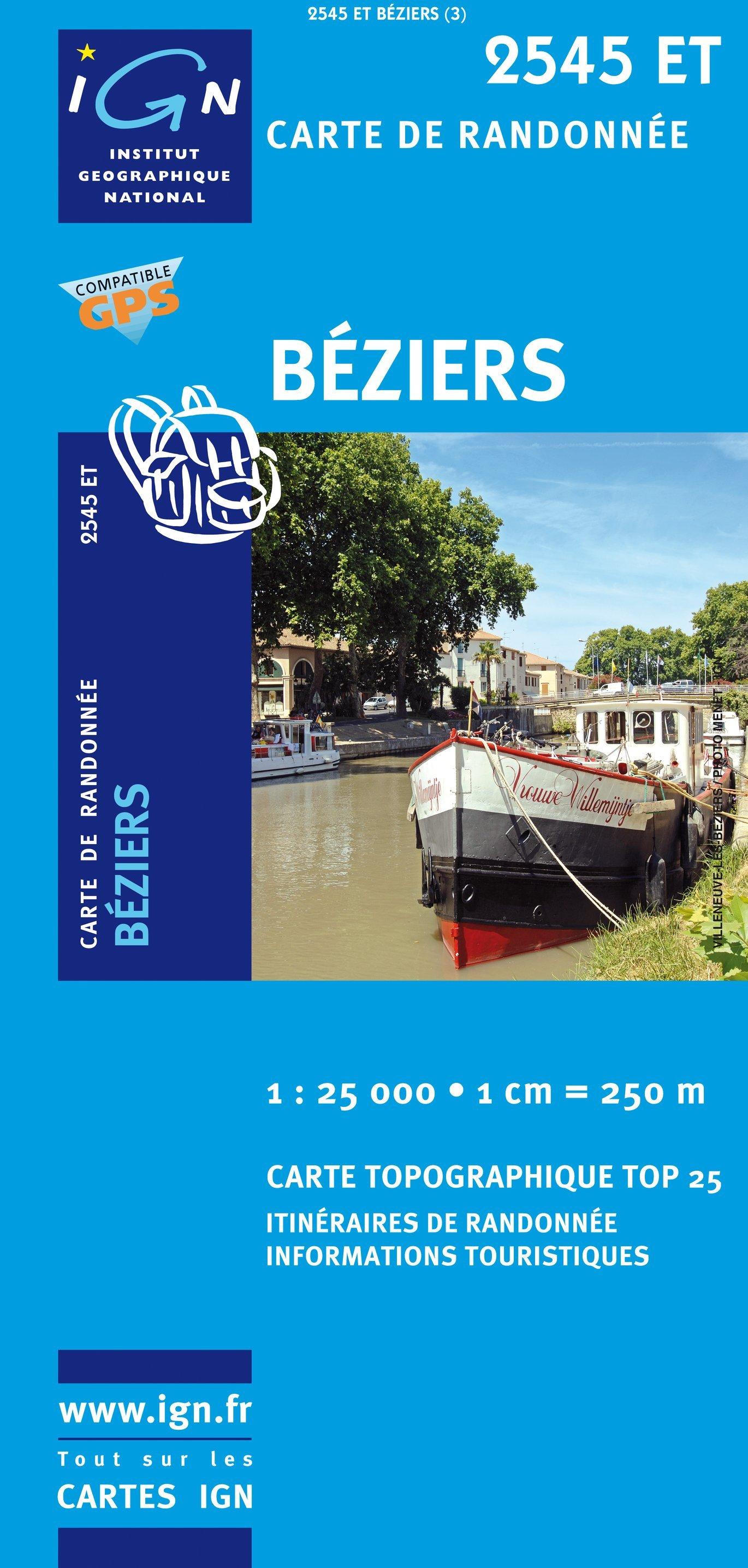 2545ET   Béziers | wandelkaart 1:25.000 9782758504788  IGN TOP 25  Wandelkaarten Languedoc, Hérault, Aude