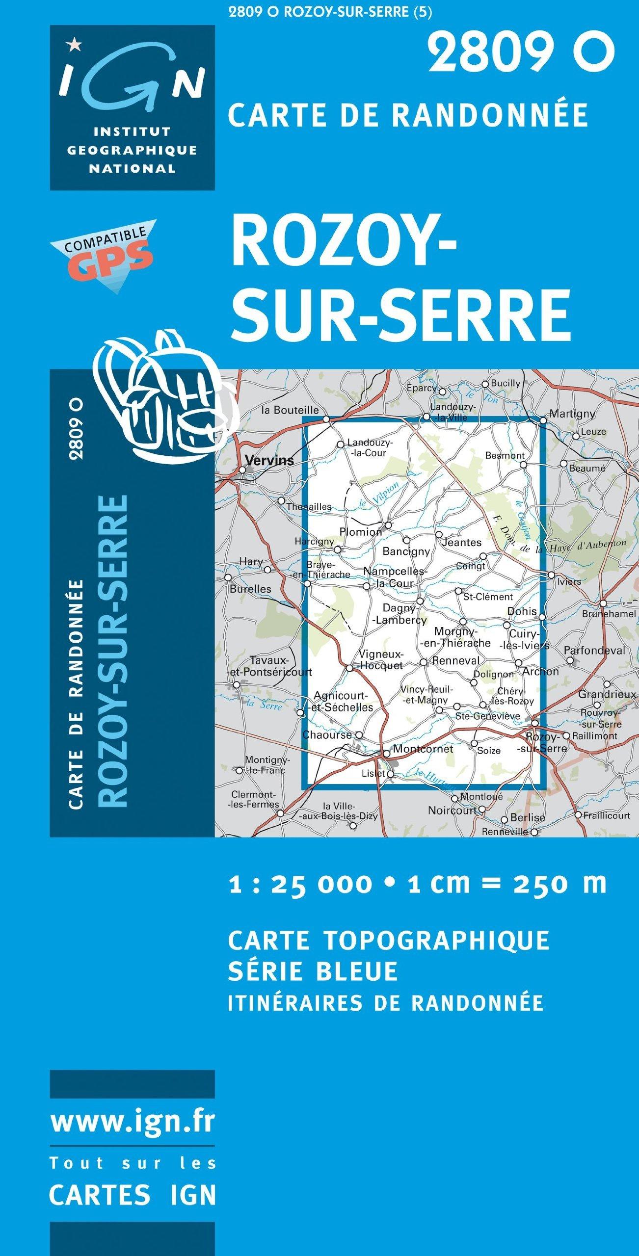2809O Rozoy-sur-Serre 9782758509363  IGN Serie Bleue 1:25.000  Wandelkaarten Champagne, Franse Ardennen