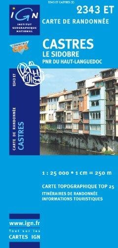 2343ET   Castres, Le Sidobre | wandelkaart 1:25.000 9782758510208  IGN TOP 25  Wandelkaarten Languedoc, Hérault, Aude