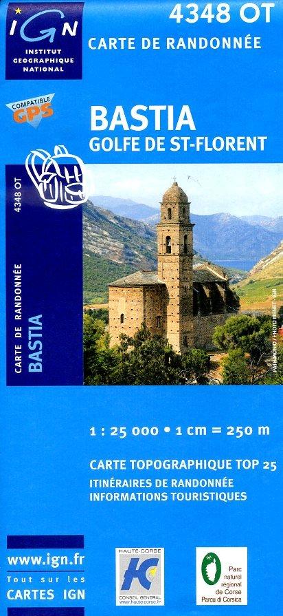 4348OT  Bastia, St-Florent, Murato | wandelkaart 1:25.000 9782758514282  IGN TOP 25  Wandelkaarten Corsica