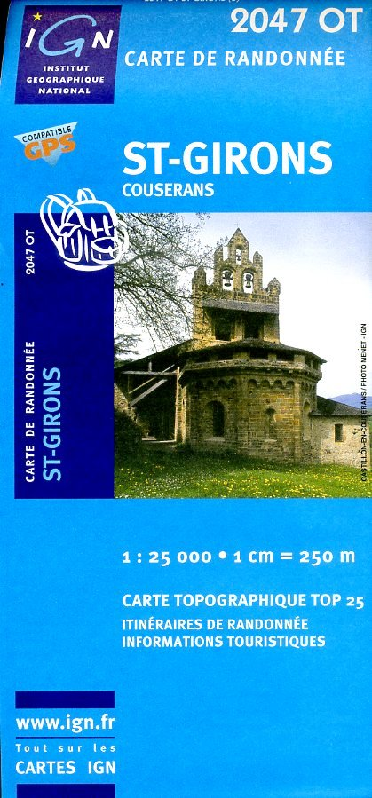 2047OT   St-Girons | wandelkaart 1:25.000 9782758518150  IGN TOP 25  Wandelkaarten Franse Pyreneeën, Toulouse, Gers, Garonne