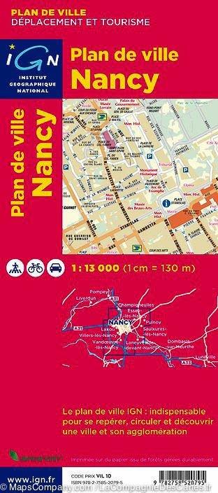 Nancy 1:13.000 9782758520795  IGN Stadsplan  Stadsplattegronden Lotharingen, Nancy, Metz