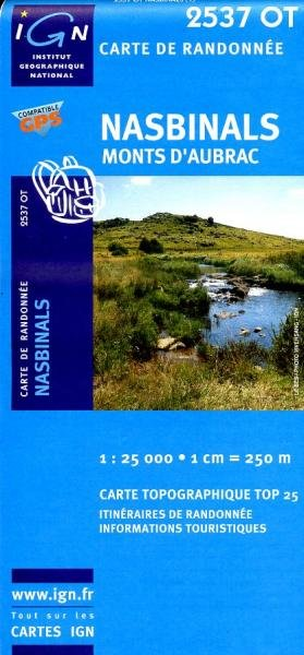 2537OT Nasbinals, Monts d'Aubrac   wandelkaart 1:25.000 9782758521242  IGN TOP 25  Wandelkaarten Cevennen, Lozère, Gard en Aveyron
