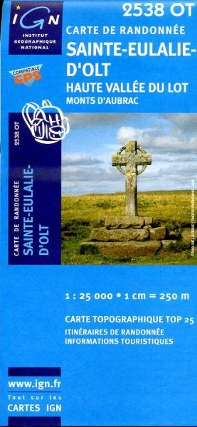 2538OT  Sainte-Eulalie-d'Olt | wandelkaart 1:25.000 9782758522072  IGN TOP 25  Wandelkaarten Cevennen, Ardèche, Gard, Aveyron