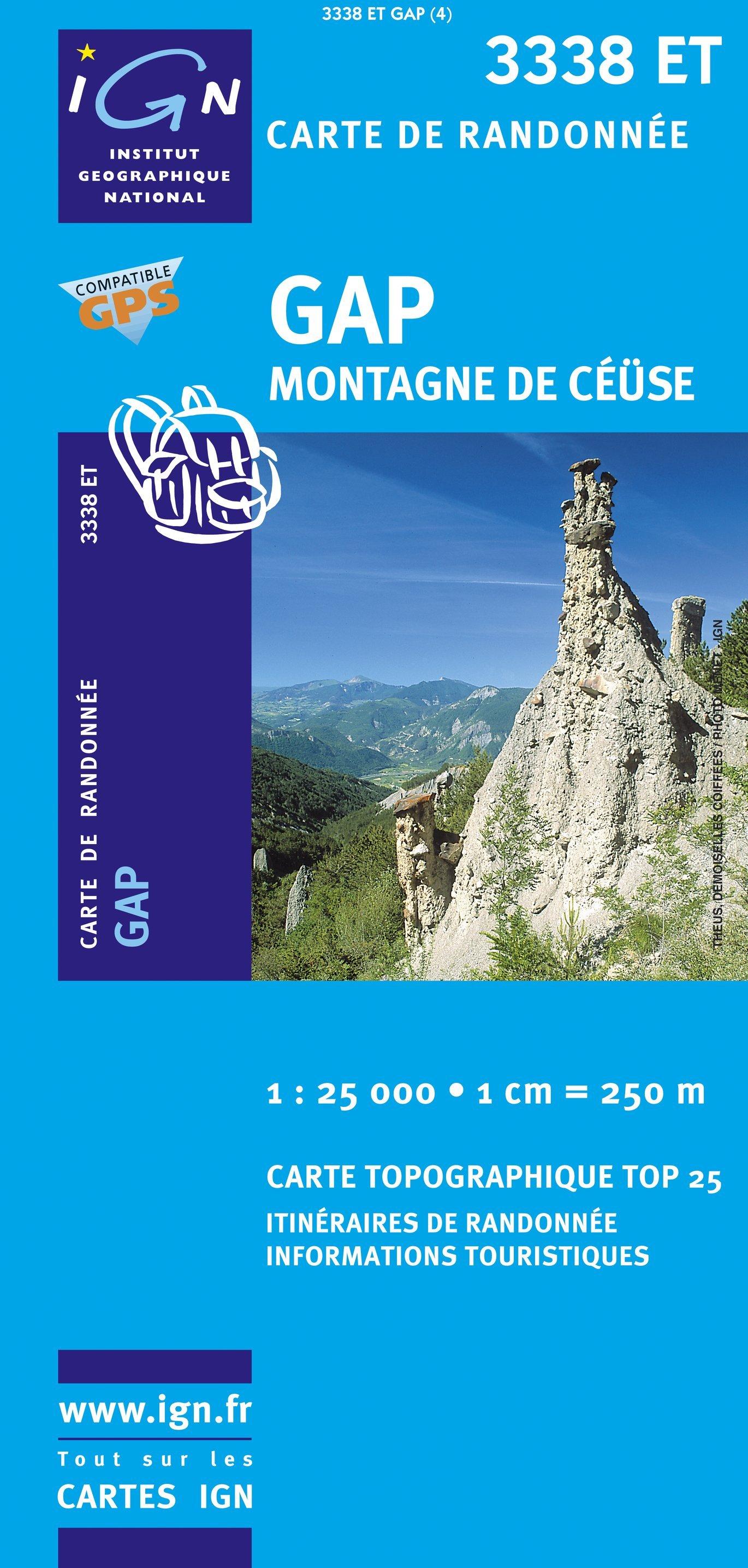 3338ET  Gap, Montagne de Céüse | wandelkaart 1:25.000 9782758522614  IGN TOP 25  Wandelkaarten Franse Alpen: zuid