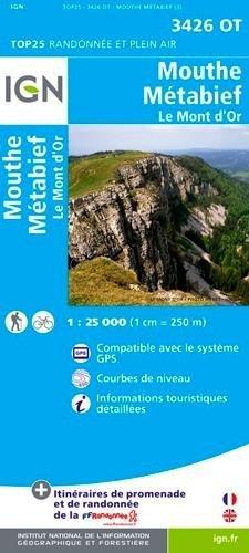 3426OT  Mouthe, Metabief | wandelkaart 1:25.000 9782758526032  IGN TOP 25  Wandelkaarten Jura, Franche-Comté