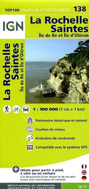 SV-138  La Rochelle, Saintes | omgevingskaart / fietskaart 1:100.000 9782758526711  IGN Série Verte 1:100.000  Fietskaarten, Landkaarten en wegenkaarten, Wijnreisgidsen Loire Atlantique, Charente, Vendée