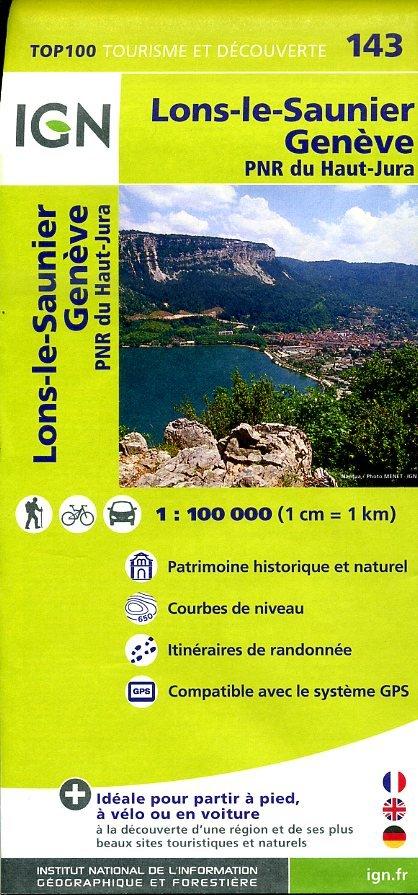SV-143  Lons-le-Saunier, Genève | omgevingskaart / fietskaart 1:100.000 9782758526759  IGN Série Verte 1:100.000  Fietskaarten, Landkaarten en wegenkaarten Jura, Franche-Comté