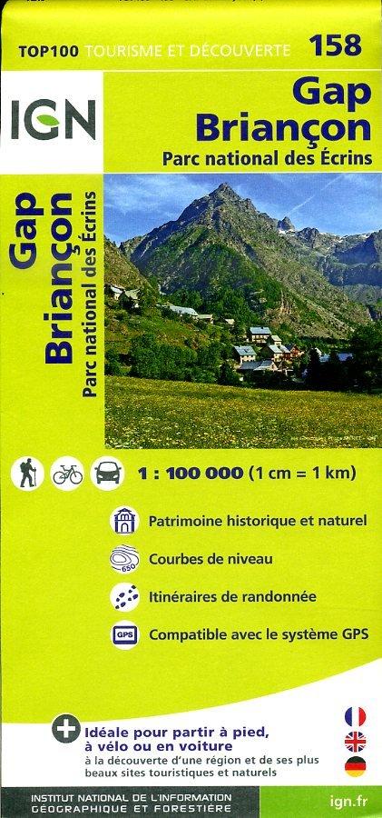 SV-158  Gap, Briançon | omgevingskaart / fietskaart 1:100.000 9782758526902  IGN Série Verte 1:100.000  Fietskaarten, Landkaarten en wegenkaarten Écrins, Queyras