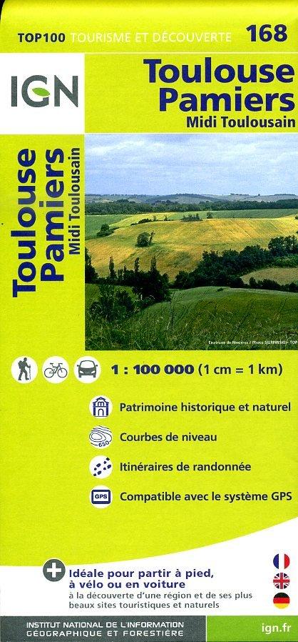 SV-168  Toulouse, Pamiers 9782758527008  IGN Série Verte 1:100.000  Fietskaarten, Landkaarten en wegenkaarten Languedoc, Hérault, Aude, Tarn